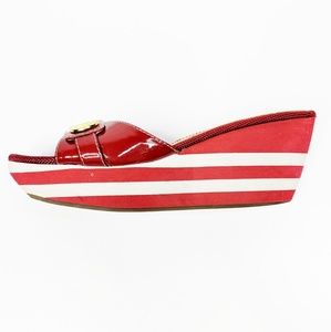 MARC FISHER red white striped slip on wedge sandal